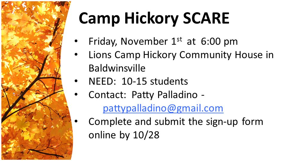Camp Hickory SCARE Friday, November 1 st at 6:00 pm Lions Camp Hickory Community House in Baldwinsville NEED: 10-15 students Contact: Patty Palladino - pattypalladino@gmail.com Complete and submit the sign-up form online by 10/28