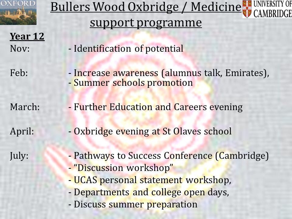 Bullers Wood Oxbridge / Medicine support programme Year 12 Nov: - Identification of potential Feb: - Increase awareness (alumnus talk, Emirates), - Su