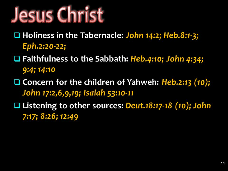  Holiness in the Tabernacle: John 14:2; Heb.8:1-3; Eph.2:20-22;  Faithfulness to the Sabbath: Heb.4:10; John 4:34; 9:4; 14:10  Concern for the children of Yahweh: Heb.2:13 (10); John 17:2,6,9,19; Isaiah 53:10-11  Listening to other sources: Deut.18:17-18 (10); John 7:17; 8:26; 12:49 14