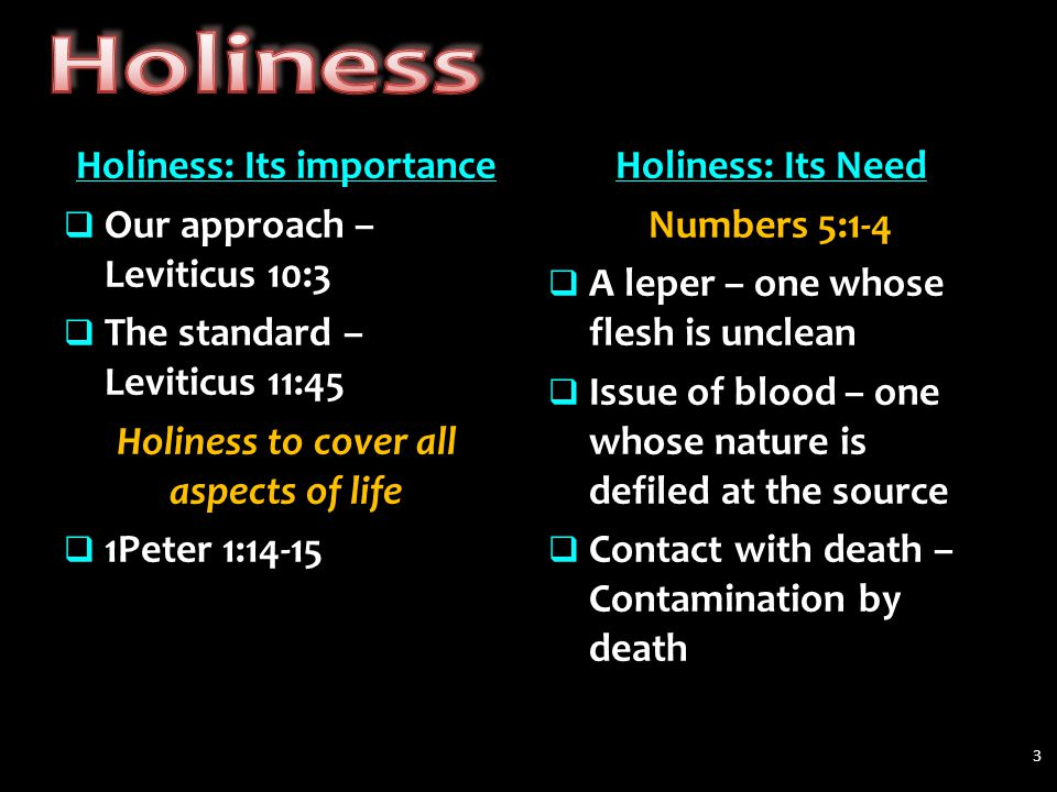 Holiness: Its importance  Our approach – Leviticus 10:3  The standard – Leviticus 11:45 Holiness to cover all aspects of life  1Peter 1:14-15 Holiness: Its Need Numbers 5:1-4  A leper – one whose flesh is unclean  Issue of blood – one whose nature is defiled at the source  Contact with death – Contamination by death 3