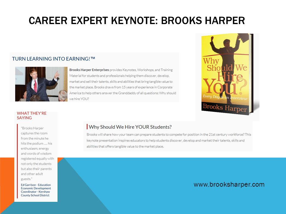 CAREER EXPERT KEYNOTE: BROOKS HARPER www.brooksharper.com