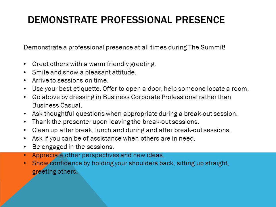 DEMONSTRATE PROFESSIONAL PRESENCE Demonstrate a professional presence at all times during The Summit.