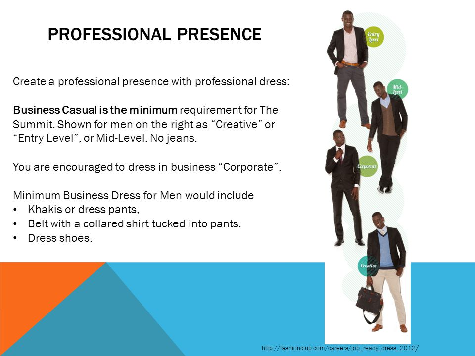 PROFESSIONAL PRESENCE Create a professional presence with professional dress: Business Casual is the minimum requirement for The Summit.