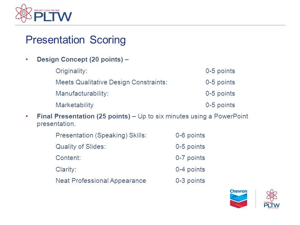 Presentation Scoring Design Concept (20 points) – Originality:0-5 points Meets Qualitative Design Constraints:0-5 points Manufacturability:0-5 points