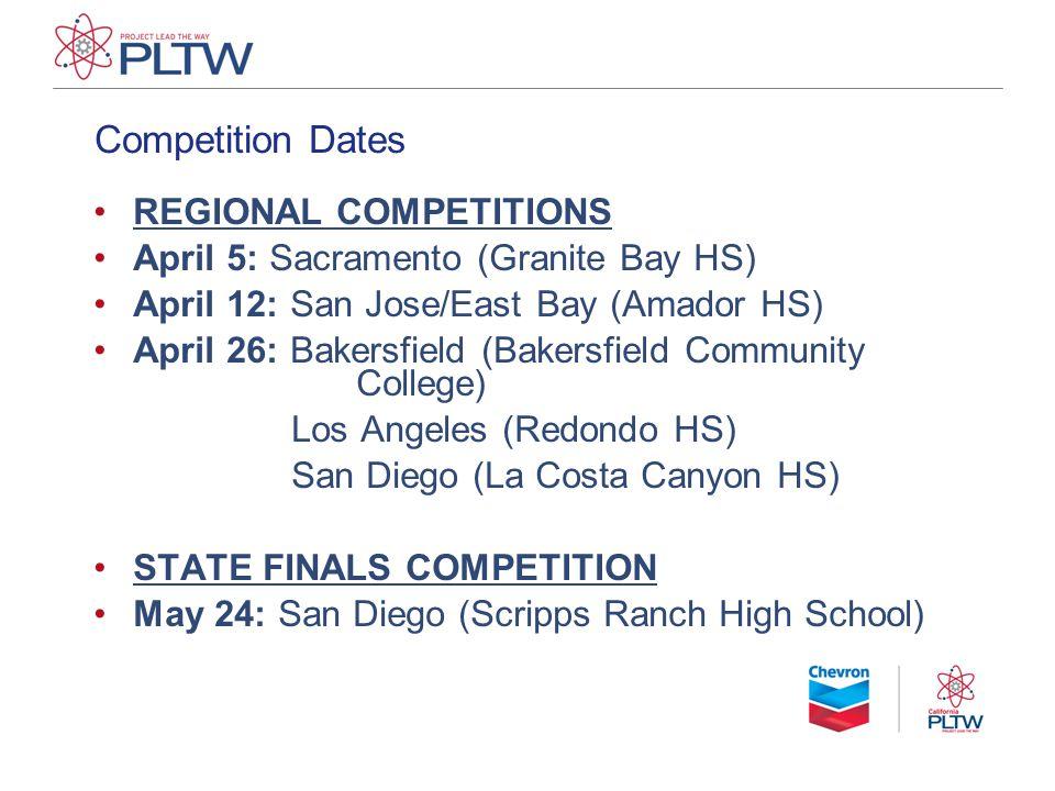 Competition Dates REGIONAL COMPETITIONS April 5: Sacramento (Granite Bay HS) April 12: San Jose/East Bay (Amador HS) April 26: Bakersfield (Bakersfiel