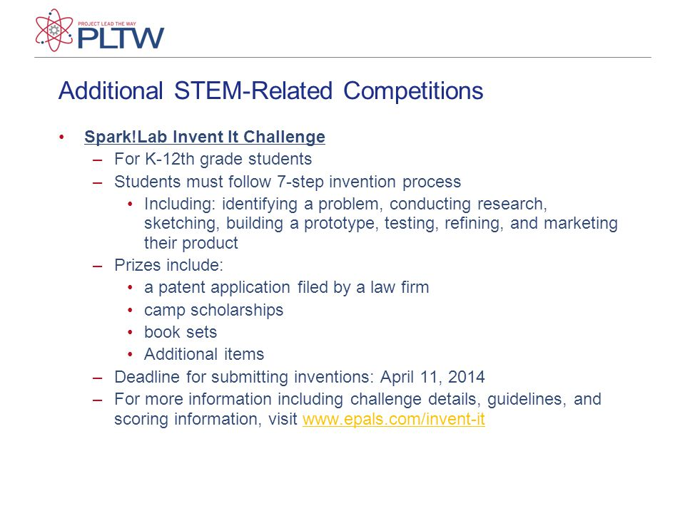 Additional STEM-Related Competitions Spark!Lab Invent It Challenge –For K-12th grade students –Students must follow 7-step invention process Including