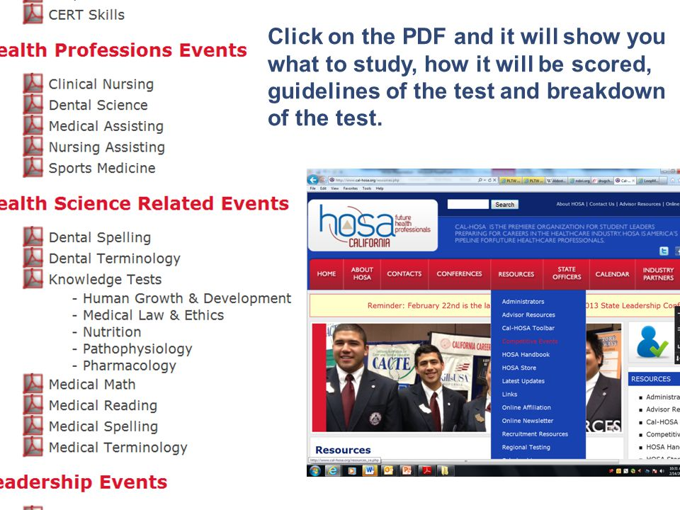 Click on the PDF and it will show you what to study, how it will be scored, guidelines of the test and breakdown of the test.