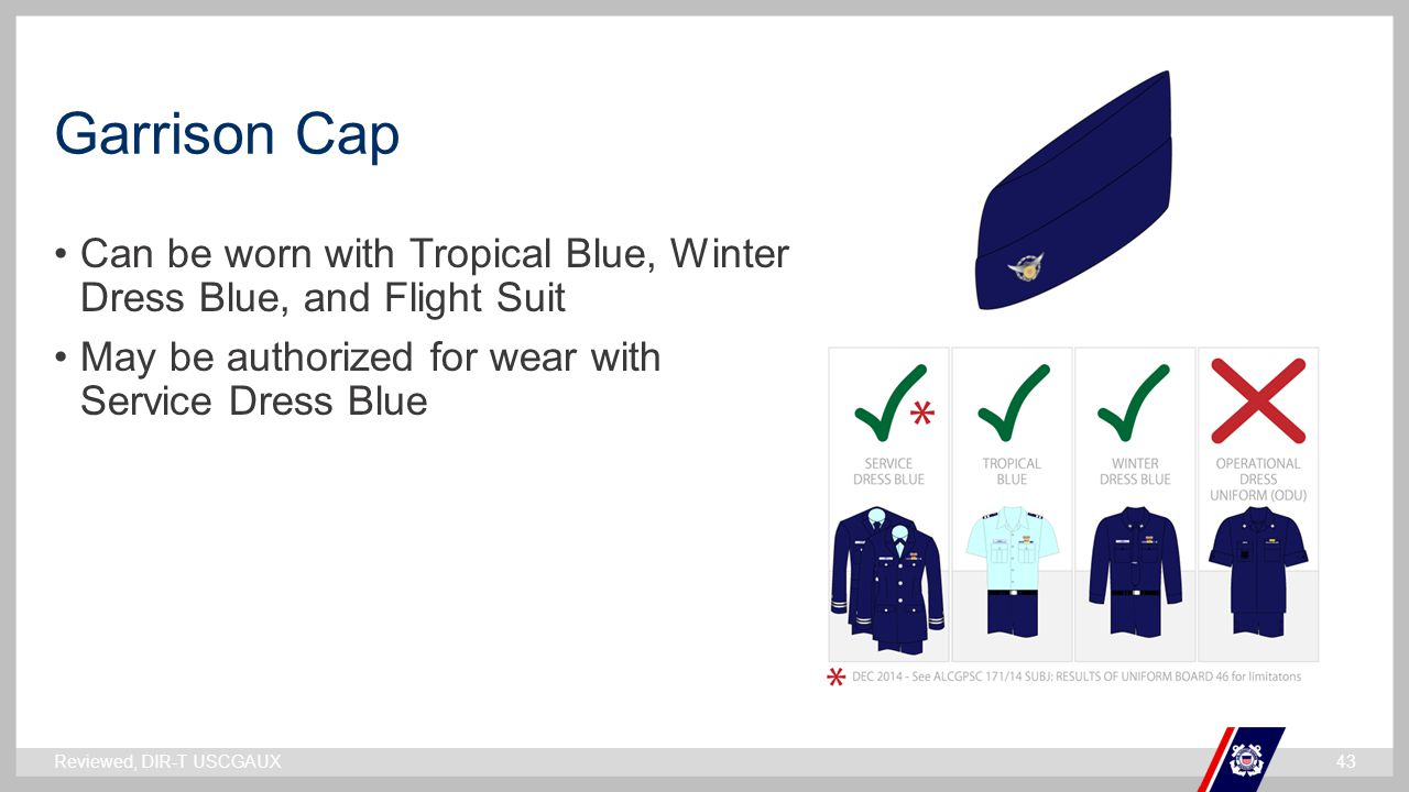 ` Garrison Cap Reviewed, DIR-T USCGAUX43 Can be worn with Tropical Blue, Winter Dress Blue, and Flight Suit May be authorized for wear with Service Dr
