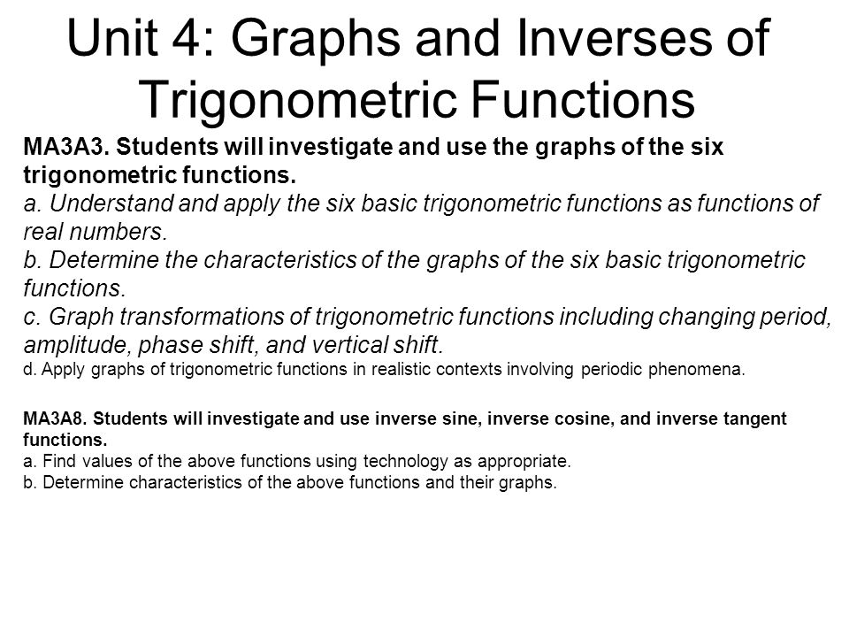 Unit 4: Graphs and Inverses of Trigonometric Functions MA3A3.