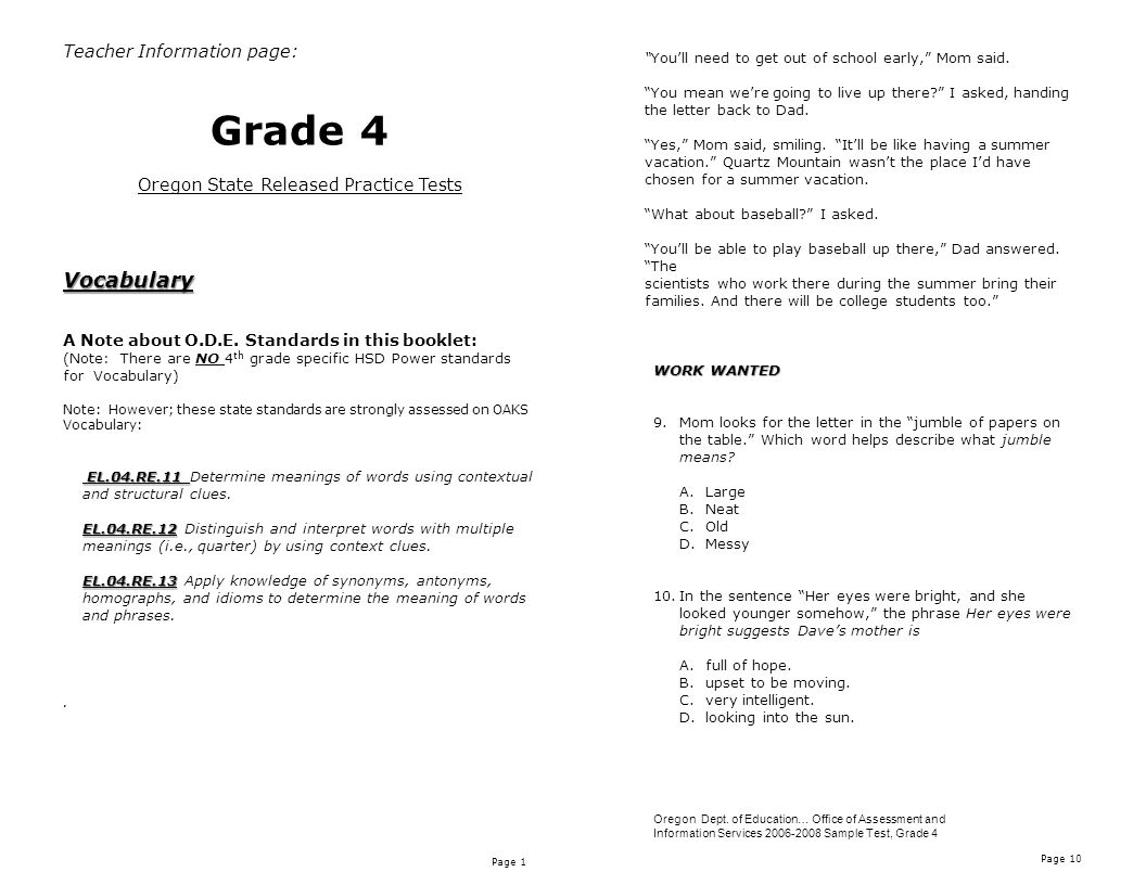 Page 1 Page 10 Teacher Information page: Grade 4 Oregon State Released Practice TestsVocabulary A Note about O.D.E.