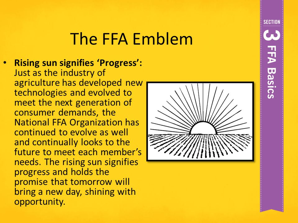 The FFA Emblem Rising sun signifies 'Progress': Just as the industry of agriculture has developed new technologies and evolved to meet the next genera