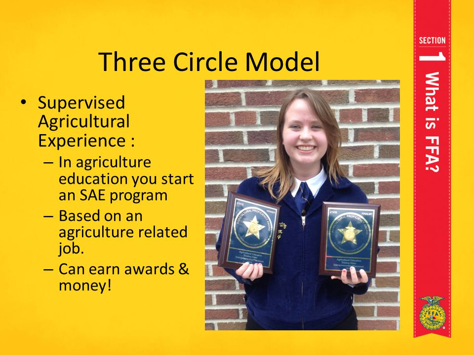 Three Circle Model Supervised Agricultural Experience : – In agriculture education you start an SAE program – Based on an agriculture related job. – C