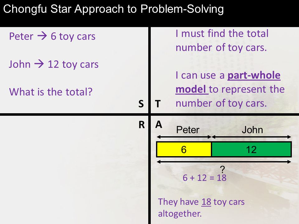 Peter  6 toy cars John  12 toy cars What is the total.