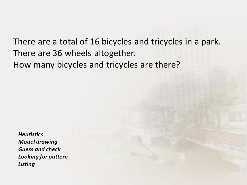 There are a total of 16 bicycles and tricycles in a park.