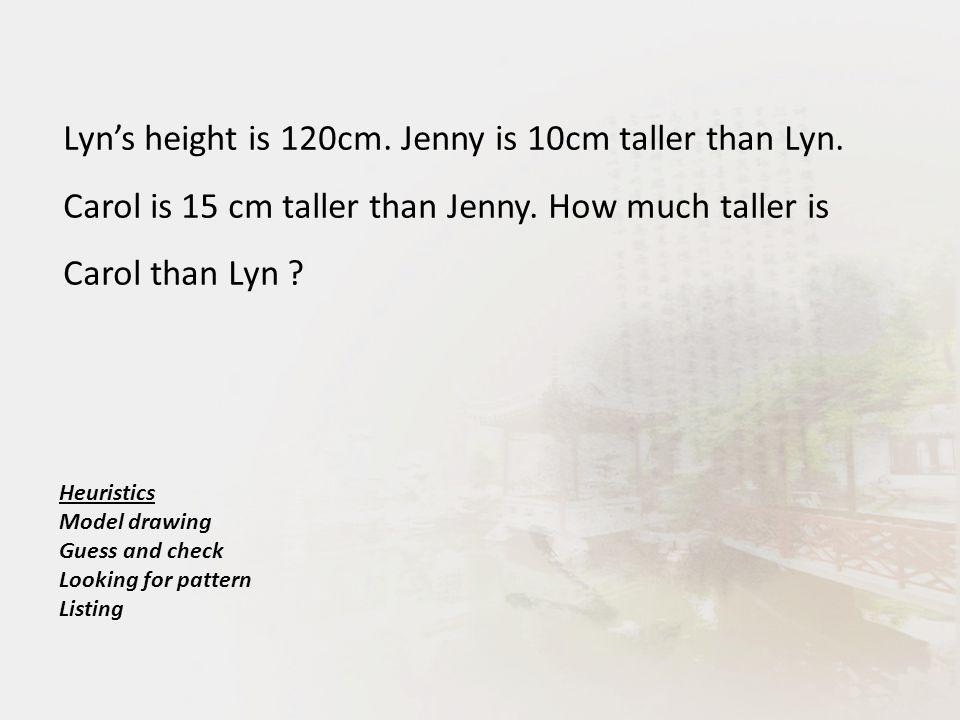 Lyn's height is 120cm. Jenny is 10cm taller than Lyn.