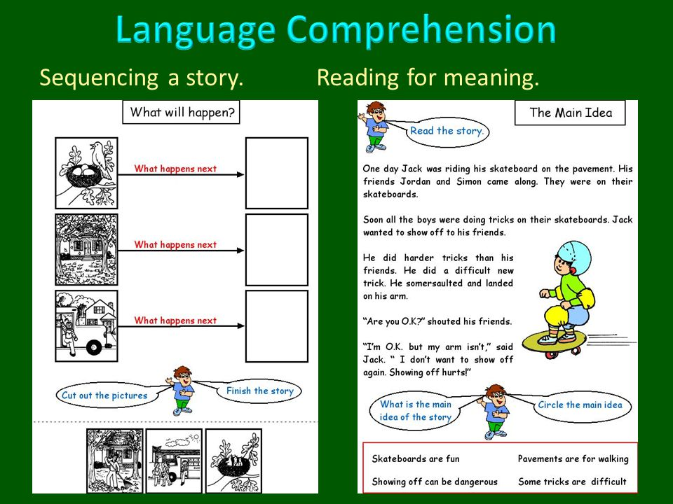 Sequencing a story. Reading for meaning.