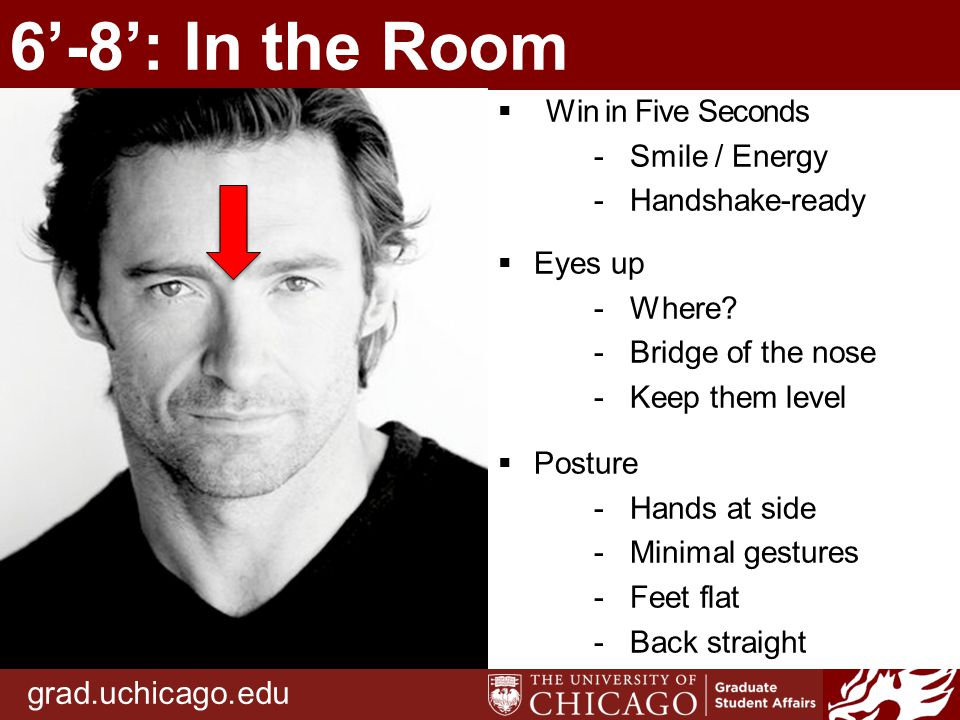 grad.uchicago.edu 6'-8': In the Room  Win in Five Seconds -Smile / Energy -Handshake-ready  Eyes up -Where.