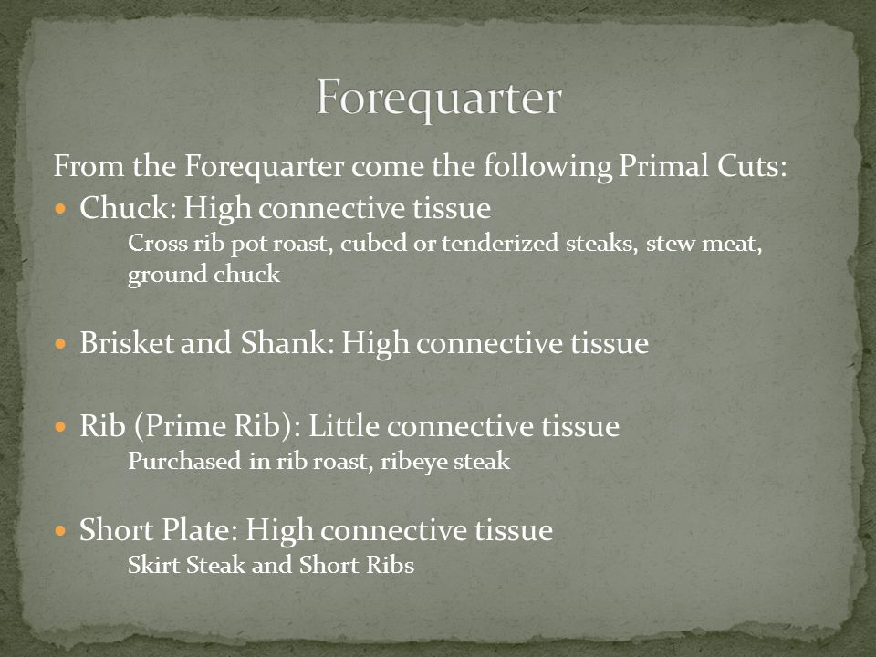 From the Forequarter come the following Primal Cuts: Chuck: High connective tissue Cross rib pot roast, cubed or tenderized steaks, stew meat, ground