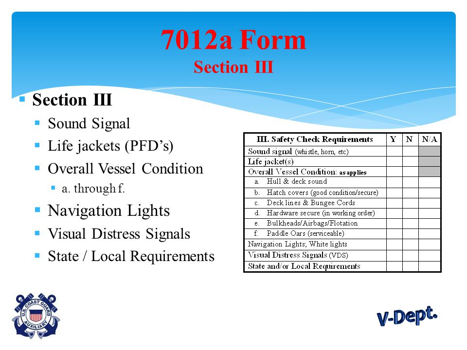  Section III  Sound Signal  Life jackets (PFD's)  Overall Vessel Condition  a.