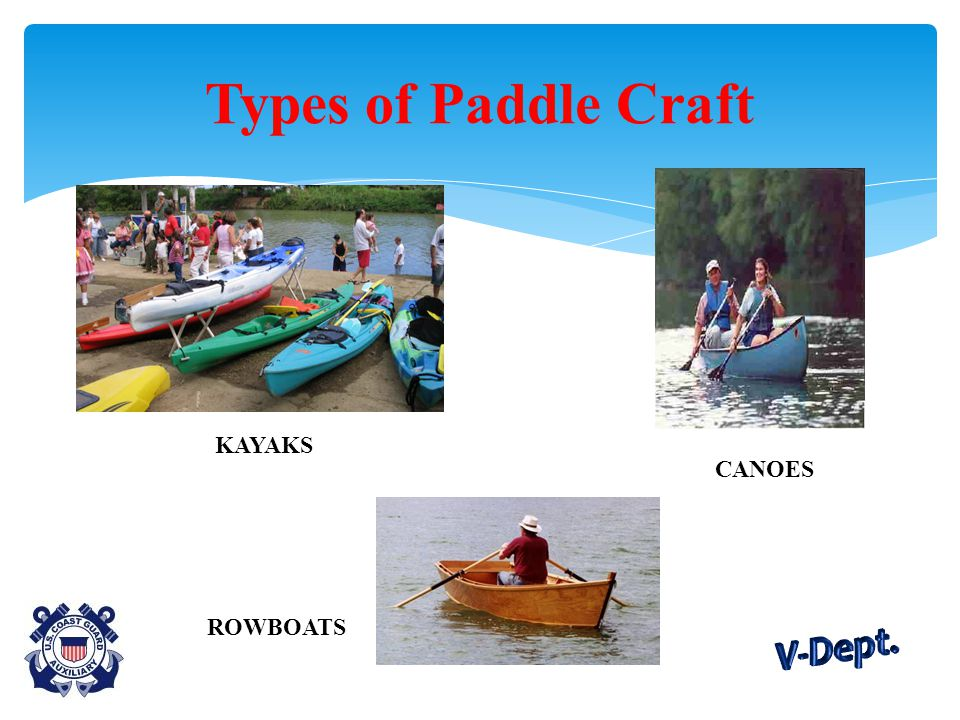 Types of Paddle Craft KAYAKS ROWBOATS CANOES