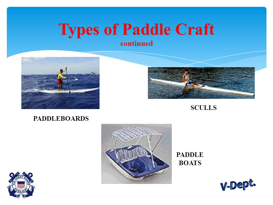 Types of Paddle Craft continued PADDLEBOARDS SCULLS PADDLE BOATS