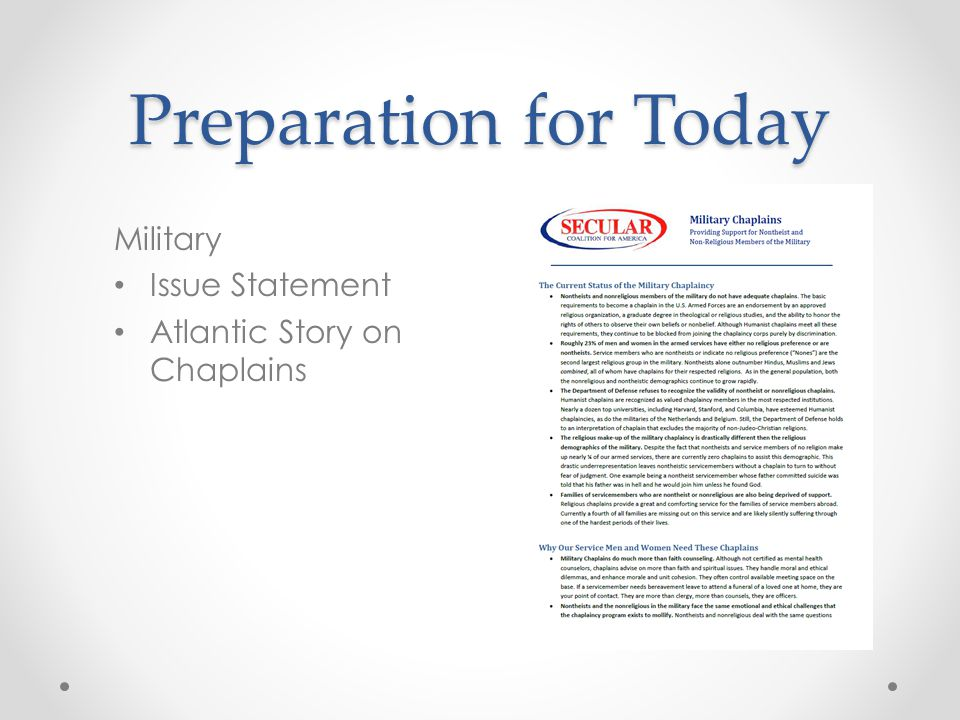 Preparation for Today Military Issue Statement Atlantic Story on Chaplains