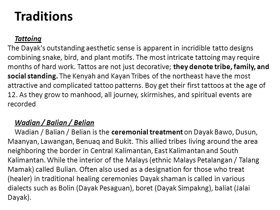 Traditions Tattoing The Dayak's outstanding aesthetic sense is apparent in incridible tatto designs combining snake, bird, and plant motifs. The most