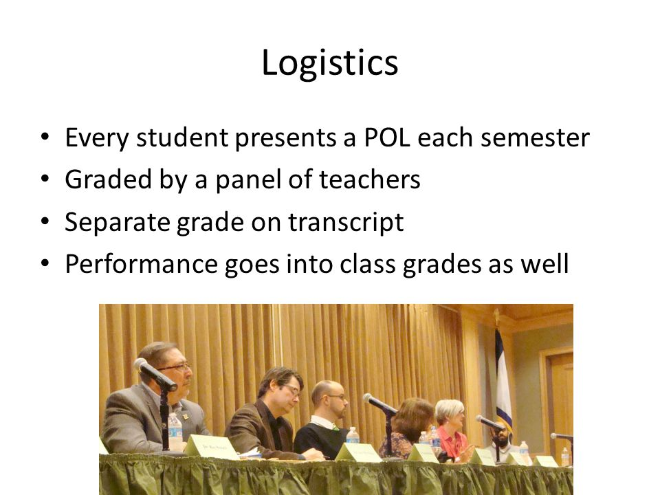Logistics Every student presents a POL each semester Graded by a panel of teachers Separate grade on transcript Performance goes into class grades as well