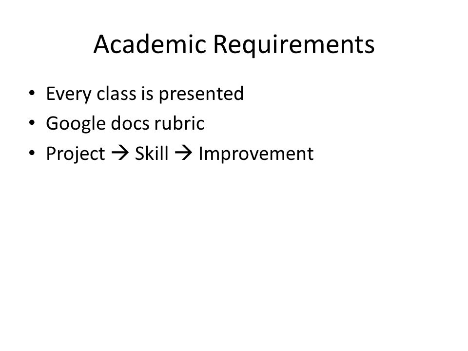 Academic Requirements Every class is presented Google docs rubric Project  Skill  Improvement