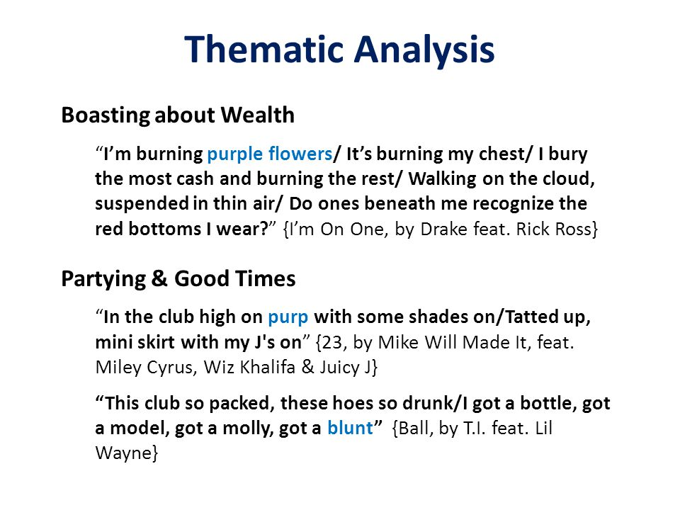 Thematic Analysis Boasting about Wealth I'm burning purple flowers/ It's burning my chest/ I bury the most cash and burning the rest/ Walking on the cloud, suspended in thin air/ Do ones beneath me recognize the red bottoms I wear? {I'm On One, by Drake feat.