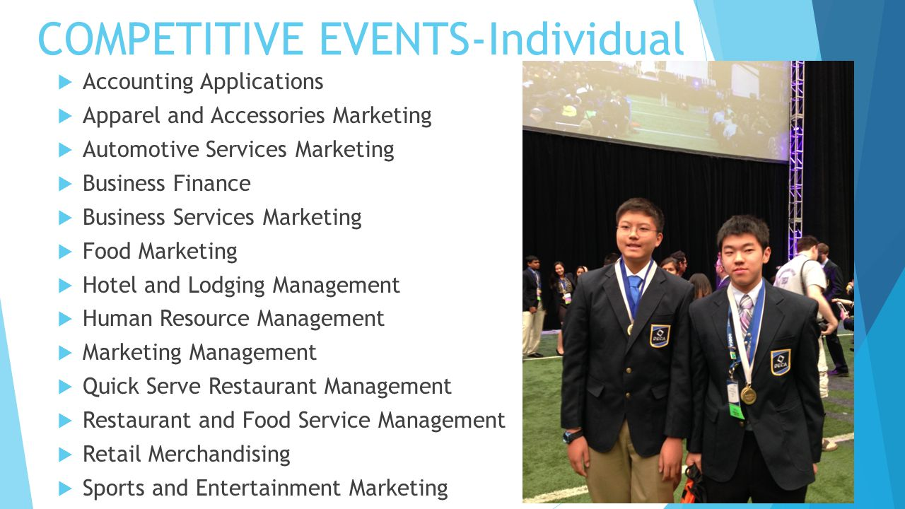 COMPETITIVE EVENTS-Individual  Accounting Applications  Apparel and Accessories Marketing  Automotive Services Marketing  Business Finance  Busin
