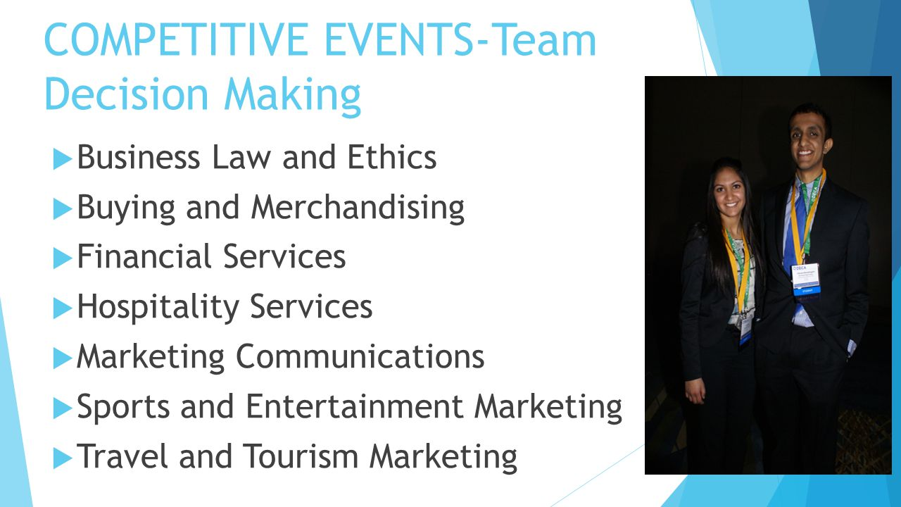 COMPETITIVE EVENTS-Team Decision Making  Business Law and Ethics  Buying and Merchandising  Financial Services  Hospitality Services  Marketing C