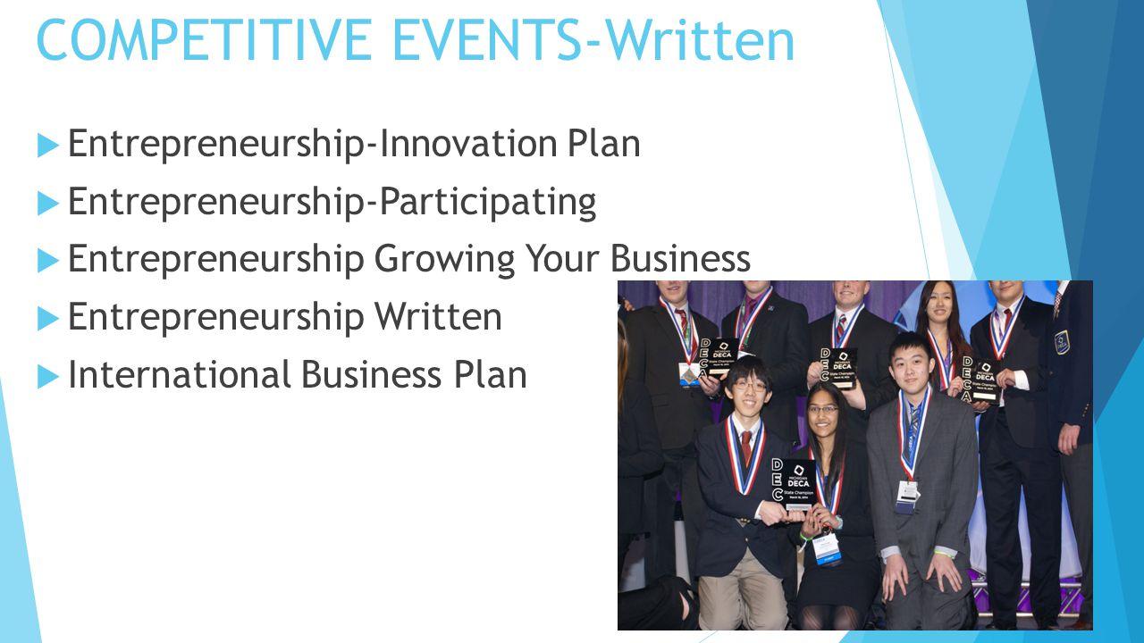 COMPETITIVE EVENTS-Written  Entrepreneurship-Innovation Plan  Entrepreneurship-Participating  Entrepreneurship Growing Your Business  Entrepreneur