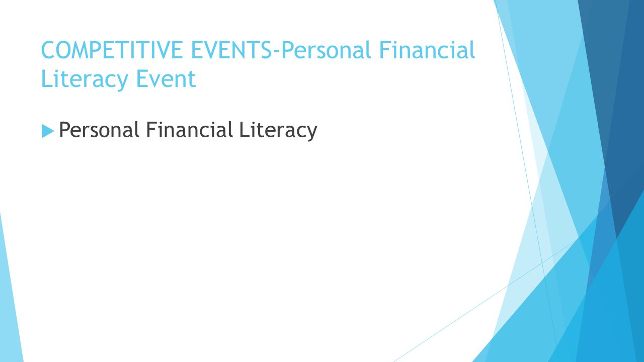 COMPETITIVE EVENTS-Personal Financial Literacy Event  Personal Financial Literacy