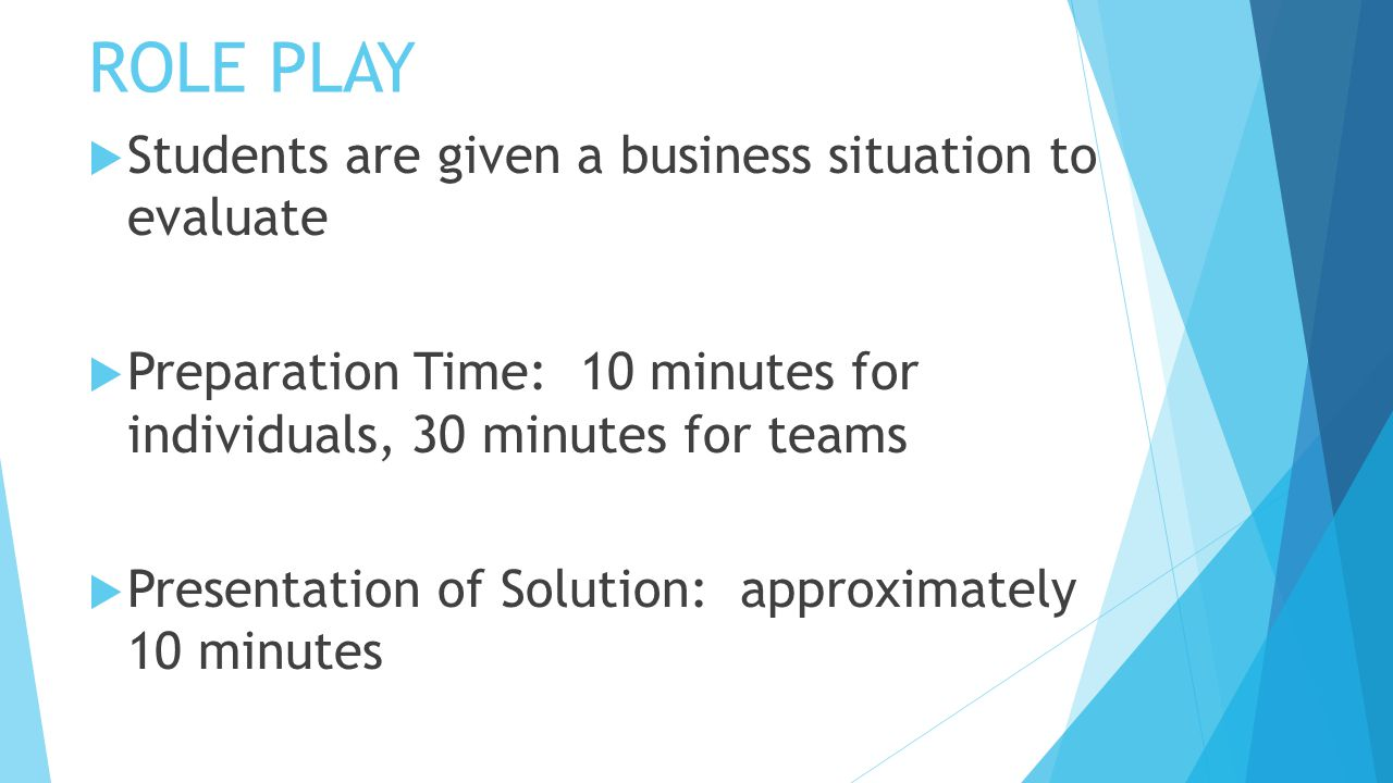 ROLE PLAY  Students are given a business situation to evaluate  Preparation Time: 10 minutes for individuals, 30 minutes for teams  Presentation of