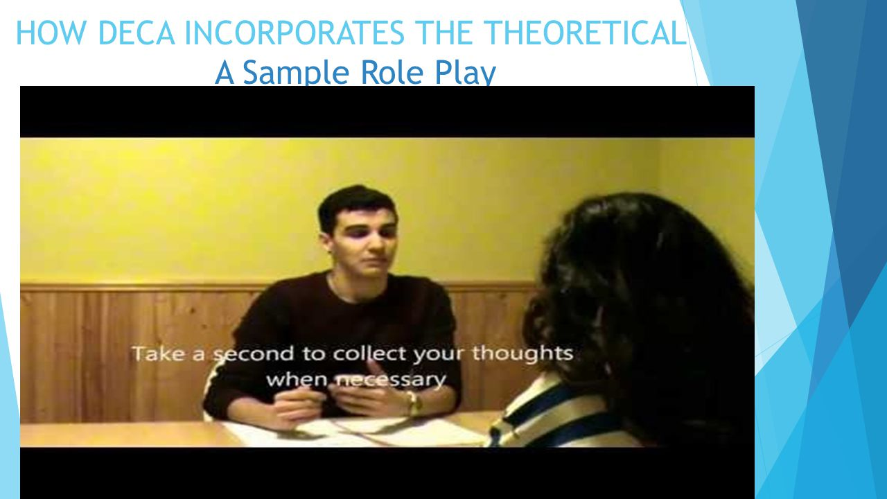 HOW DECA INCORPORATES THE THEORETICAL A Sample Role Play