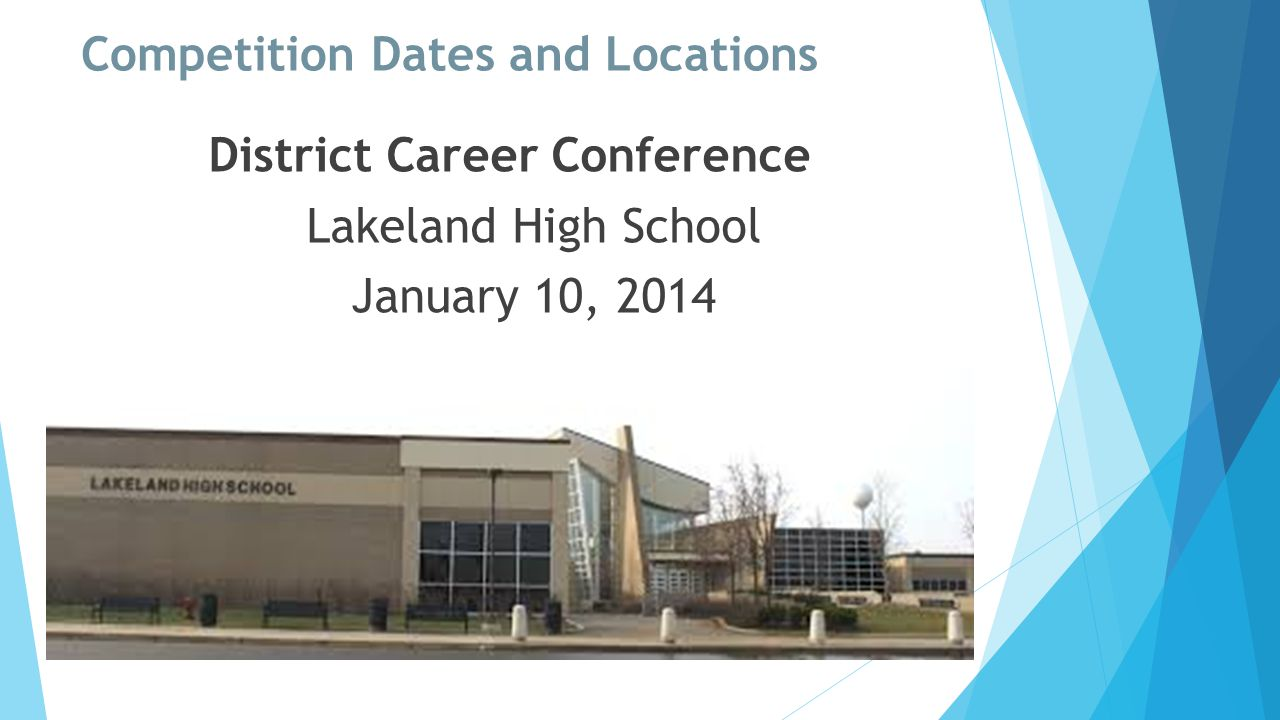Competition Dates and Locations District Career Conference Lakeland High School January 10, 2014