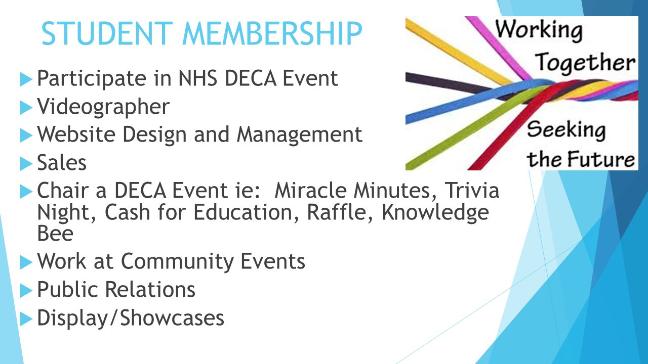 STUDENT MEMBERSHIP  Participate in NHS DECA Event  Videographer  Website Design and Management  Sales  Chair a DECA Event ie: Miracle Minutes, Tr