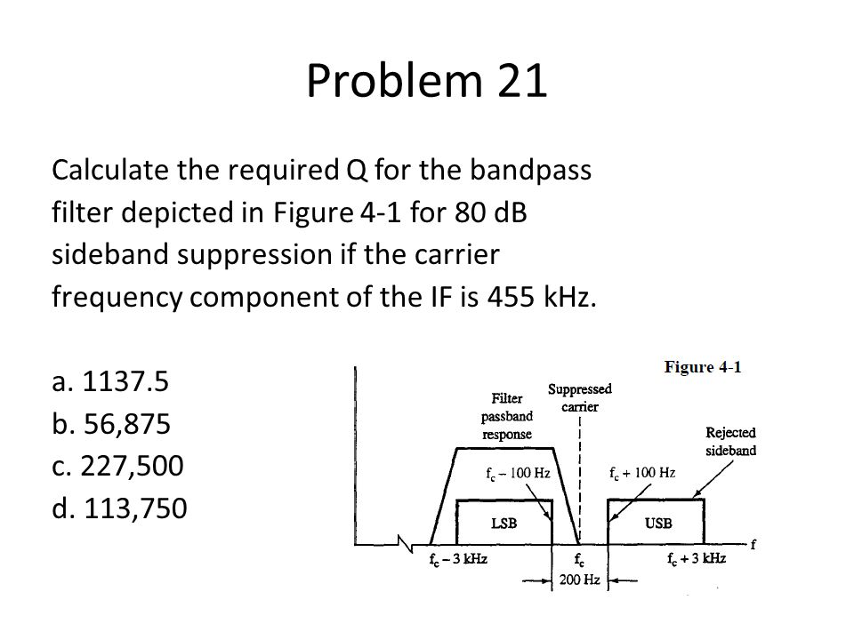 Problem 21 Calculate the required Q for the bandpass filter depicted in Figure 4-1 for 80 dB sideband suppression if the carrier frequency component o
