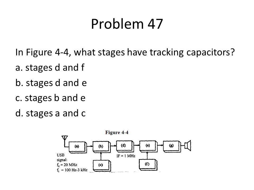 Problem 47 In Figure 4-4, what stages have tracking capacitors? a. stages d and f b. stages d and e c. stages b and e d. stages a and c