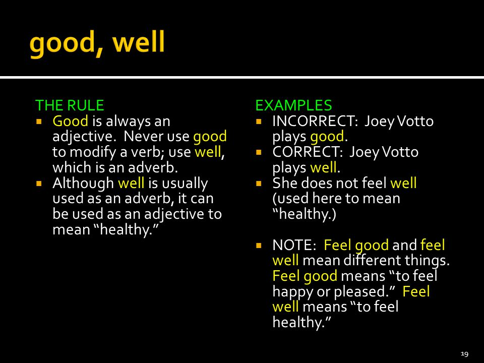 THE RULE  Good is always an adjective. Never use good to modify a verb; use well, which is an adverb.  Although well is usually used as an adverb, i