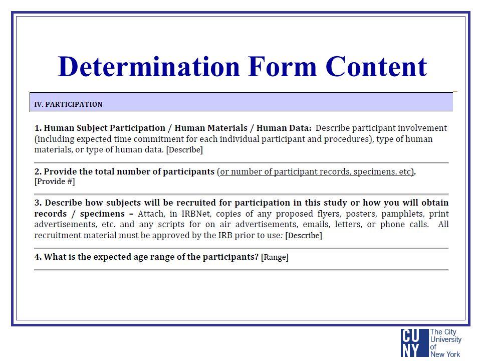 Determination Form Content