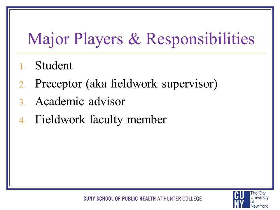 Major Players & Responsibilities 1. Student 2. Preceptor (aka fieldwork supervisor) 3.