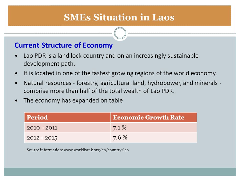 Current Structure of Economy Lao PDR is a land lock country and on an increasingly sustainable development path. It is located in one of the fastest g