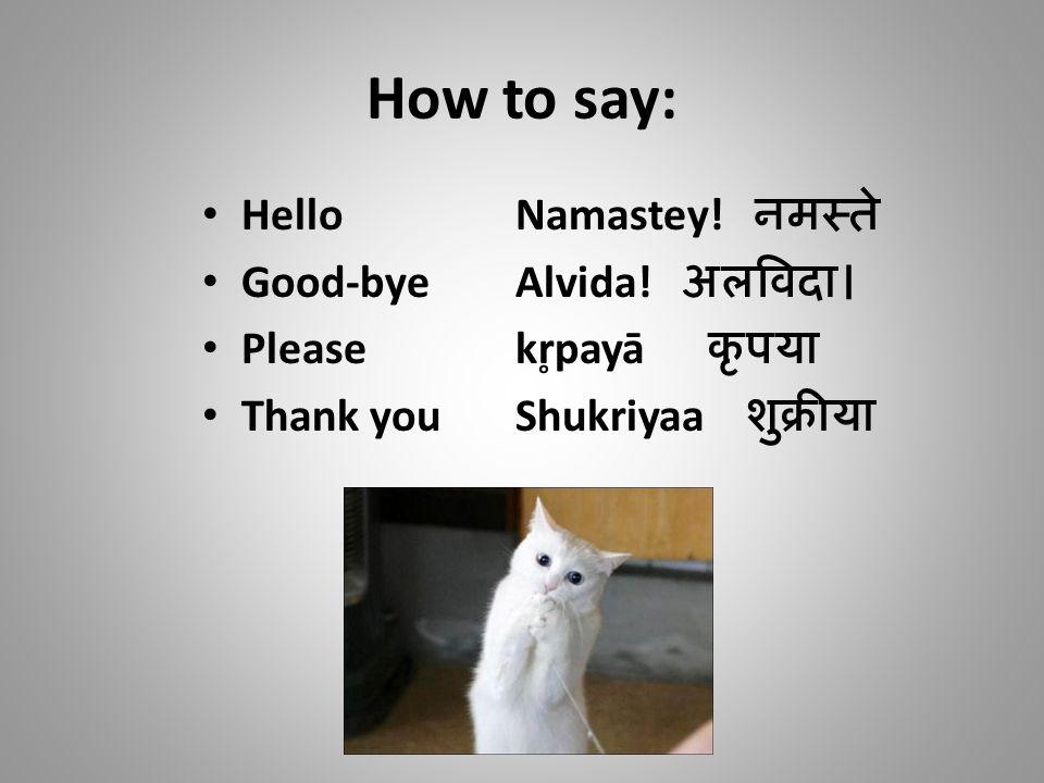 How to say: HelloNamastey.नमस्ते Good-byeAlvida.