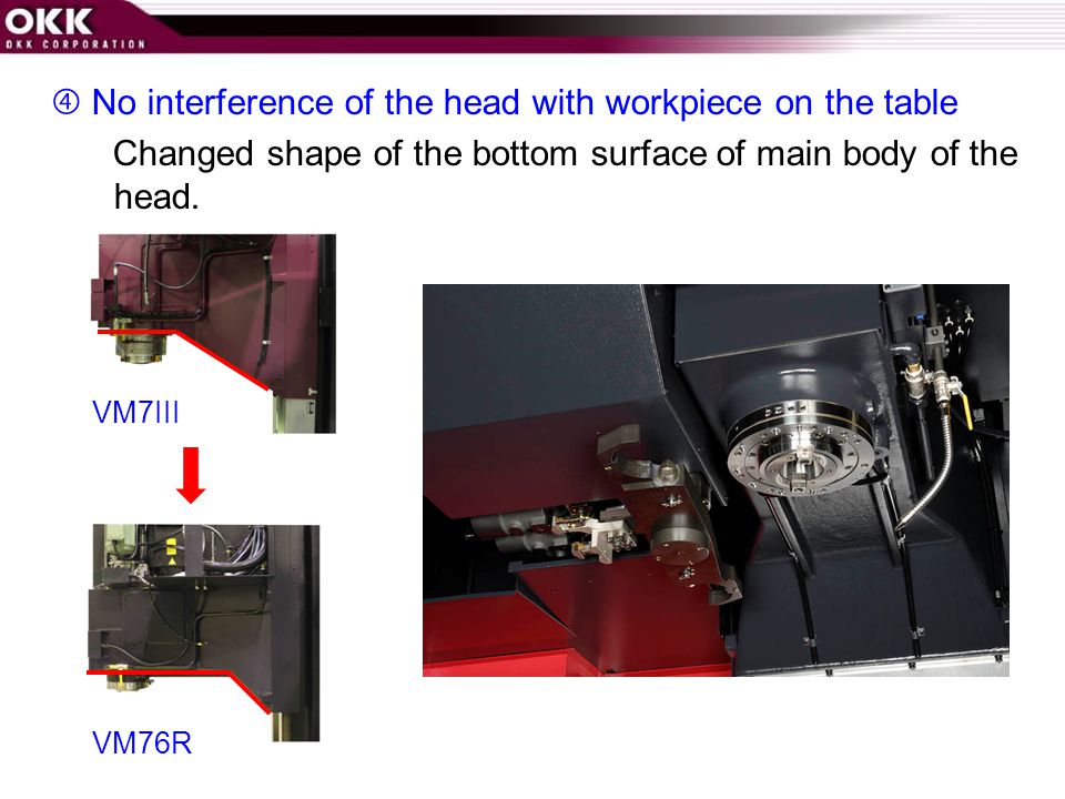  No interference of the head with workpiece on the table Changed shape of the bottom surface of main body of the head.