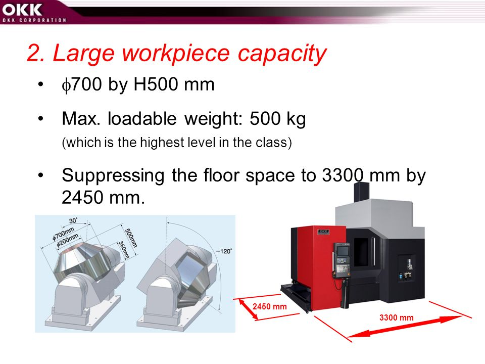 2.Large workpiece capacity  700 by H500 mm Max.