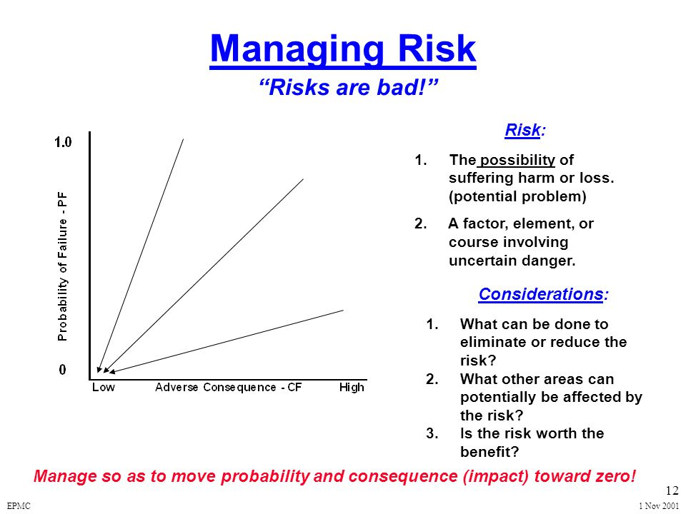 "EPMC1 Nov 2001 11 Managing Risk ""Opportunities are Good!"" Manage so as to enhance the high benefit and high probability! Opportunity: 1.A favorable or"