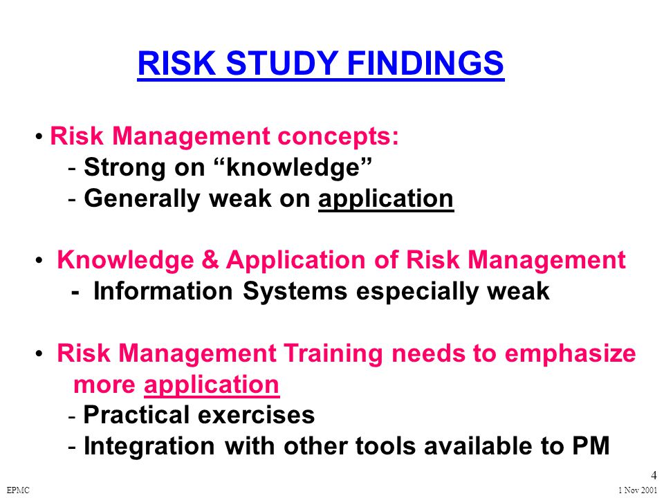 EPMC1 Nov 2001 14 ACQUISITION RISK -- DEFINITION A Measure of Potential Inability to Achieve Defined Program Cost / Schedule / Performance GOALS Each Risk (Risk Event) Has 2 Components: PROBABILITY -- Event Will Occur CONSEQUENCES -- Adverse Impact to Program WALKING THE PLANK!