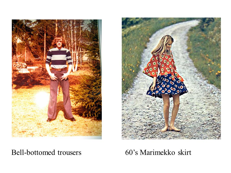 Bell-bottomed trousers60's Marimekko skirt